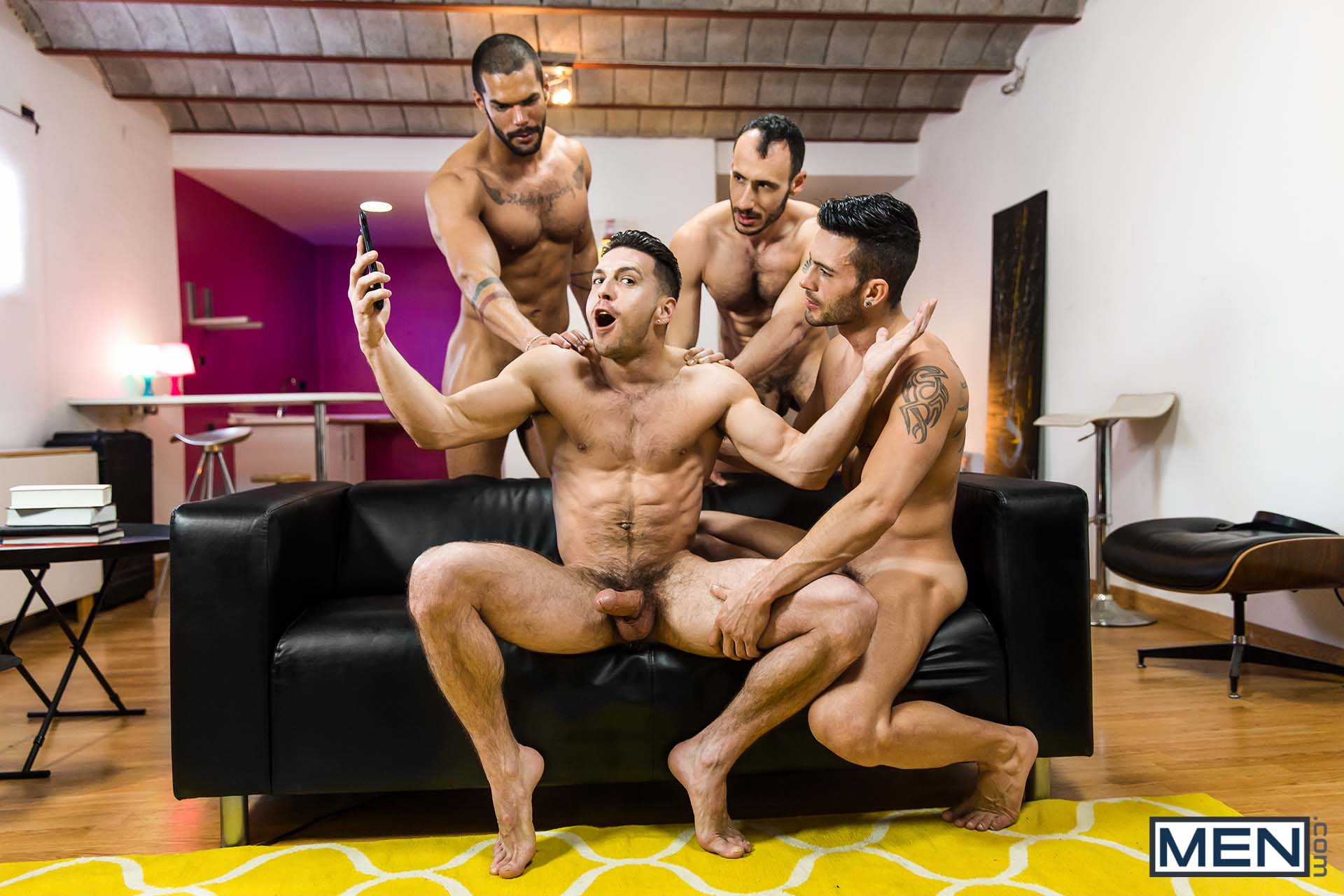 "Photo of Paddy O'Brian, Ely Chaim, Andy Star y Lucas Fox una polla para todos y todos los culos para uno en ""Hat Trick, Parte 3"" de Alter Sin 