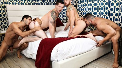 "Photo of Diego Sans y Damien Stone salvan vidas y se follan los culos de Allen Lucas y Max Wilde en ""Save Me"" 