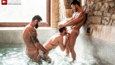 Photo of Andy Star y Victor D'Angelo meten doble rabo a pelo a Drake Rogers en la piscina cubierta | Lucas Entertainment