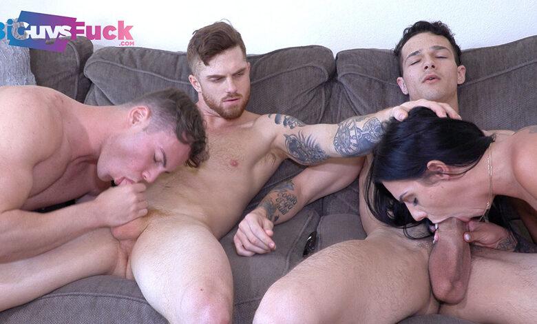 Photo of Dustin Hazel y Jayden Marcos penetran el culazo peludete de su colega Brian Kush y comparten a Desiree Nevada   Bi Guys Fuck